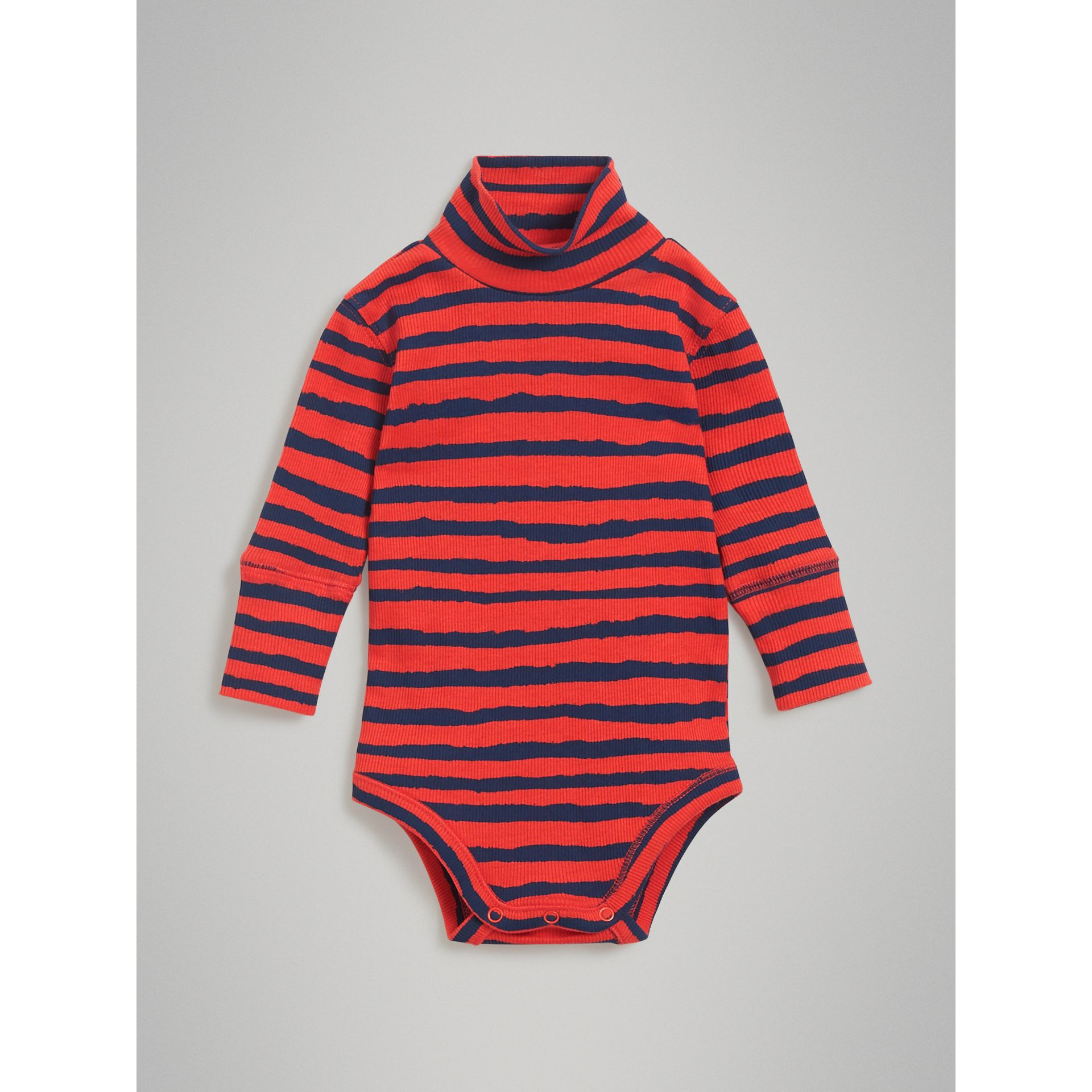 Roll-neck Striped Cotton Bodysuit in Orange Red - Children | Burberry - gallery image 0