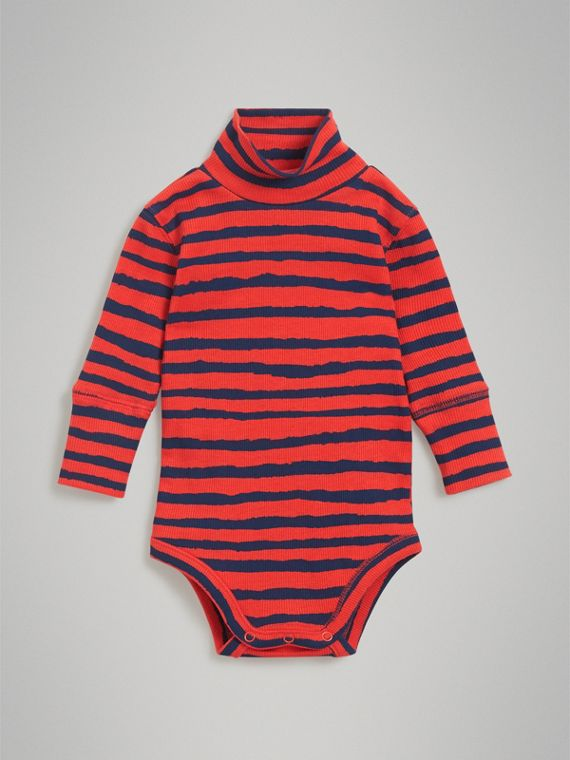 Roll-neck Striped Cotton Bodysuit in Orange Red