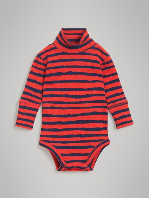 Bodi en algodón a rayas con cuello vuelto (Rojo Anaranjado)