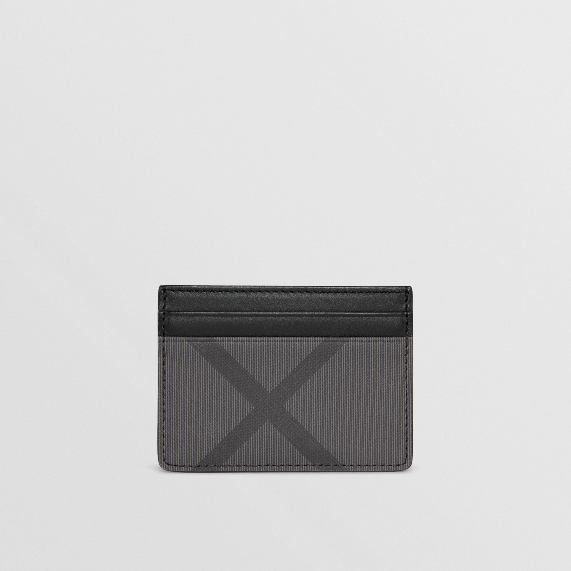 London Check and Leather Card Case in Charcoal/black - Men | Burberry Hong Kong - gallery image 2