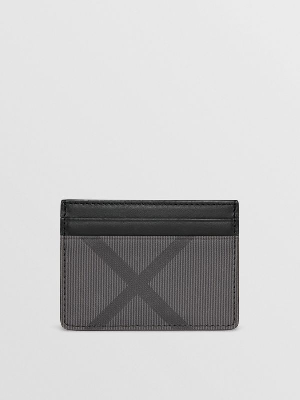 London Check and Leather Card Case in Charcoal/black - Men | Burberry Hong Kong - cell image 2