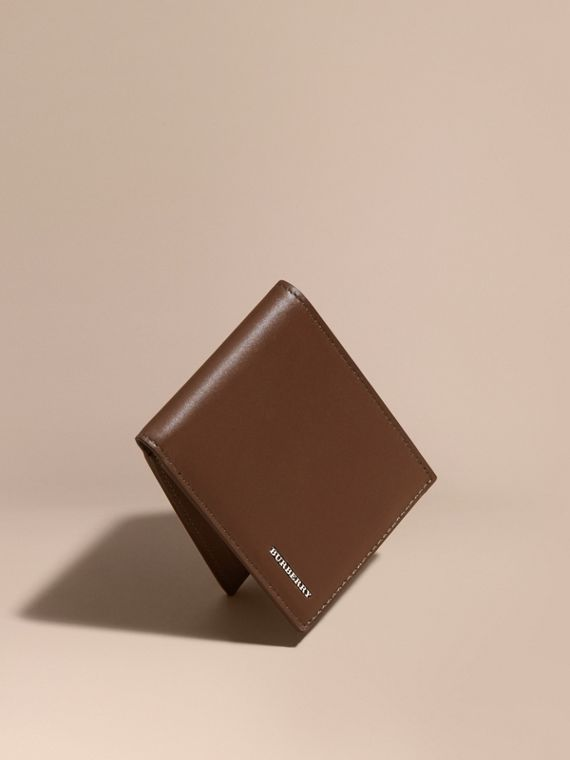 Smooth Leather Folding Wallet with Printed Lining Sepia Brown