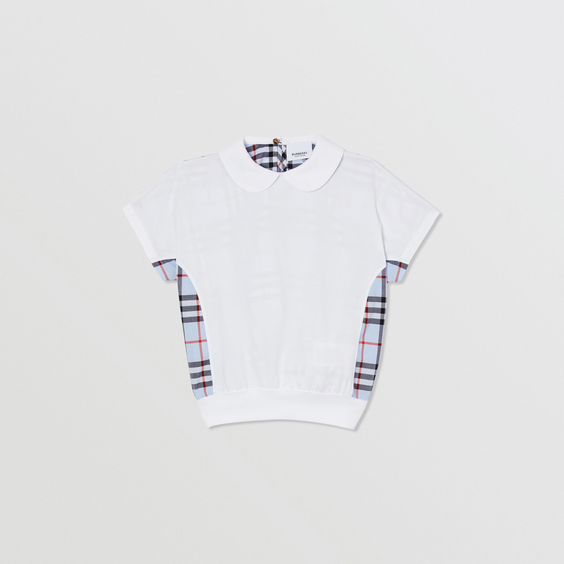 Check Panel Cotton Top in White | Burberry - gallery image 0
