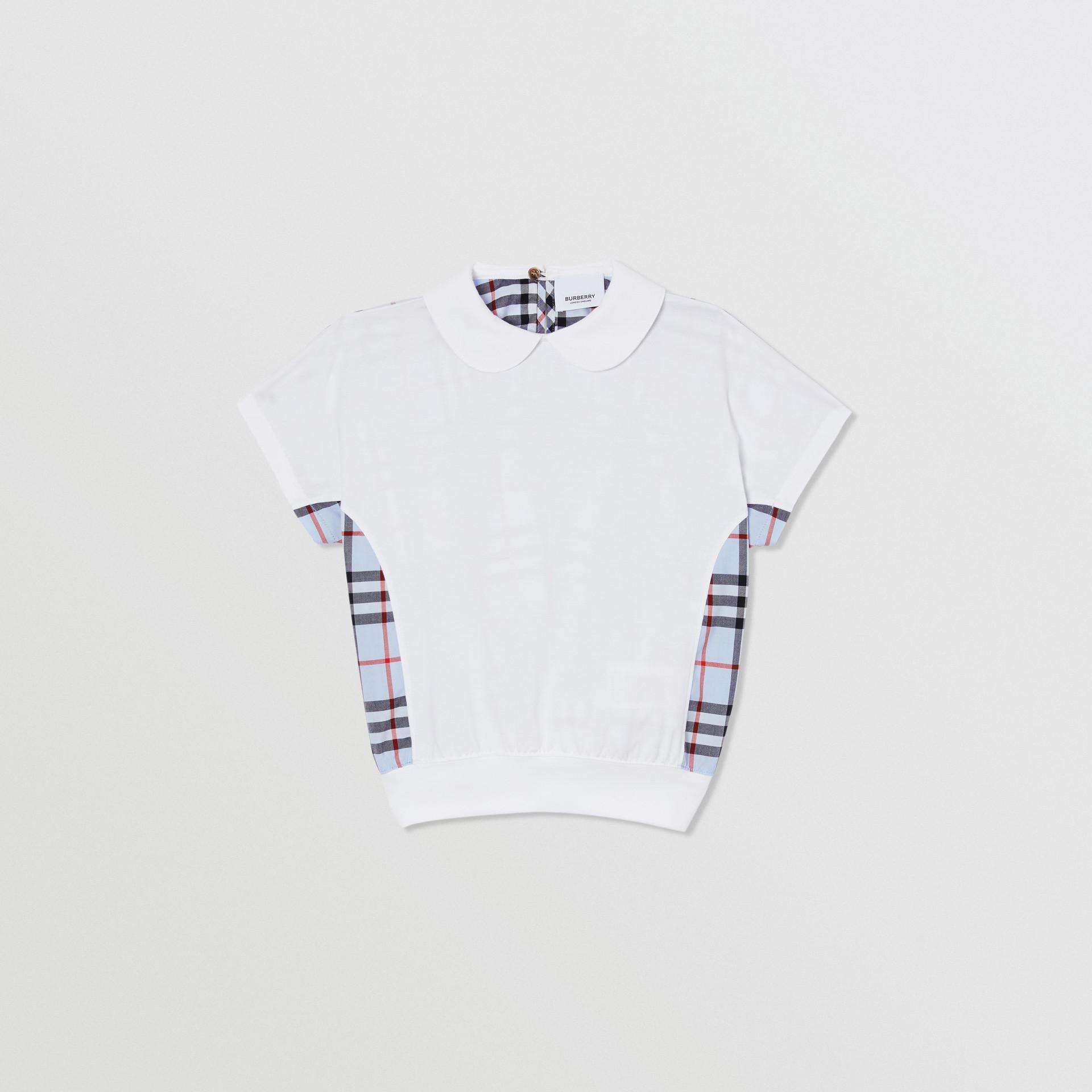 Blusa de algodão com recorte xadrez (Branco) | Burberry - galeria de imagens 0