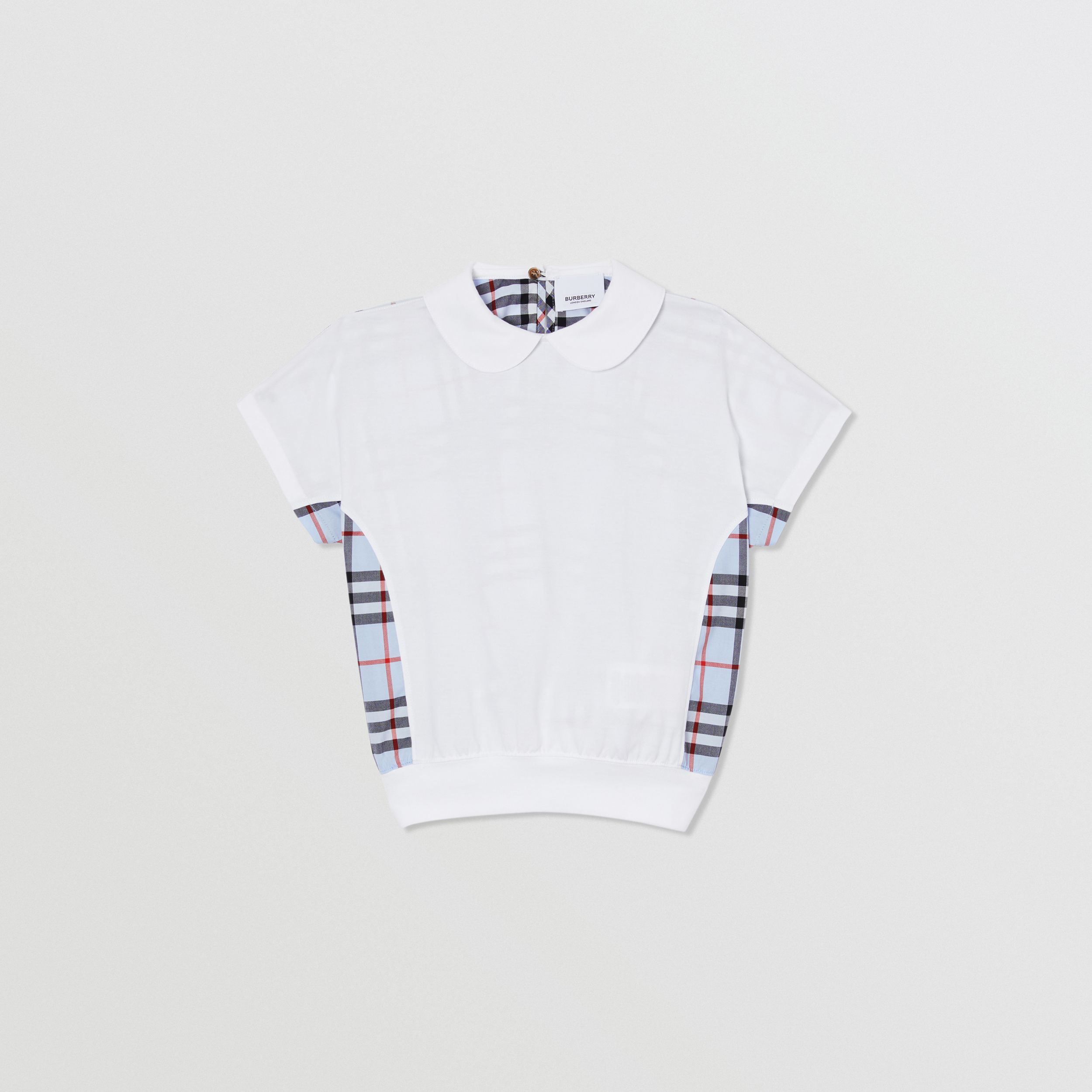 Check Panel Cotton Top in White | Burberry - 1