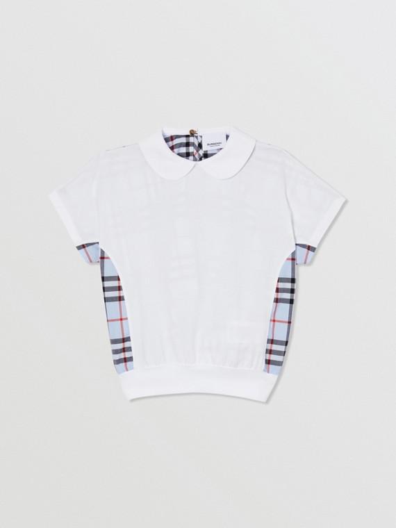 格紋裁片棉質上衣 (白色)