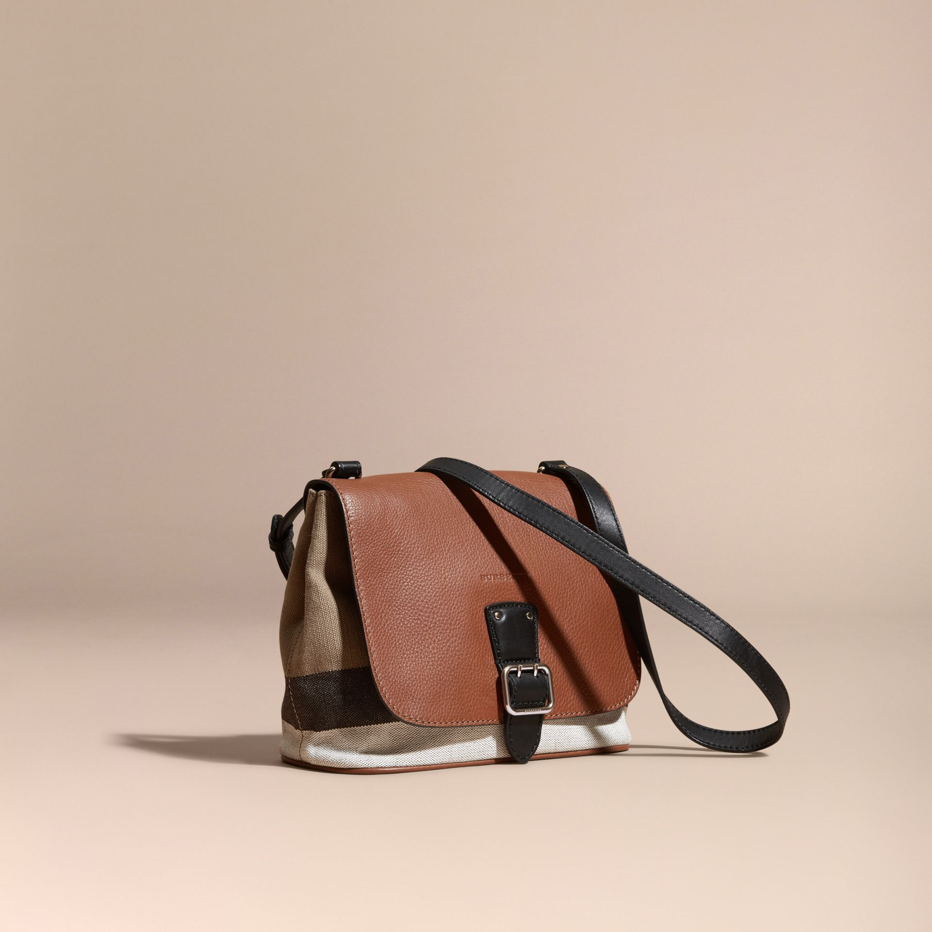 Tan Canvas Check and Leather Crossbody Bag - gallery image 1