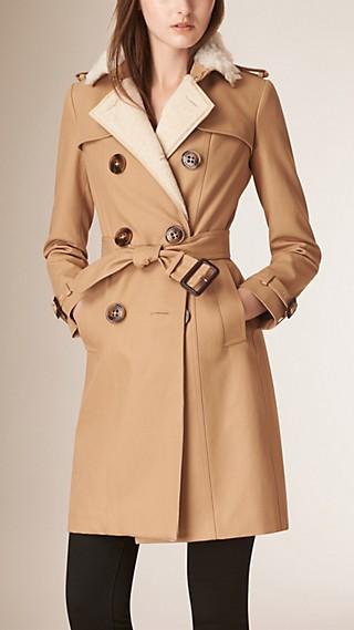 Shearling Detail Cotton Gabardine Trench Coat