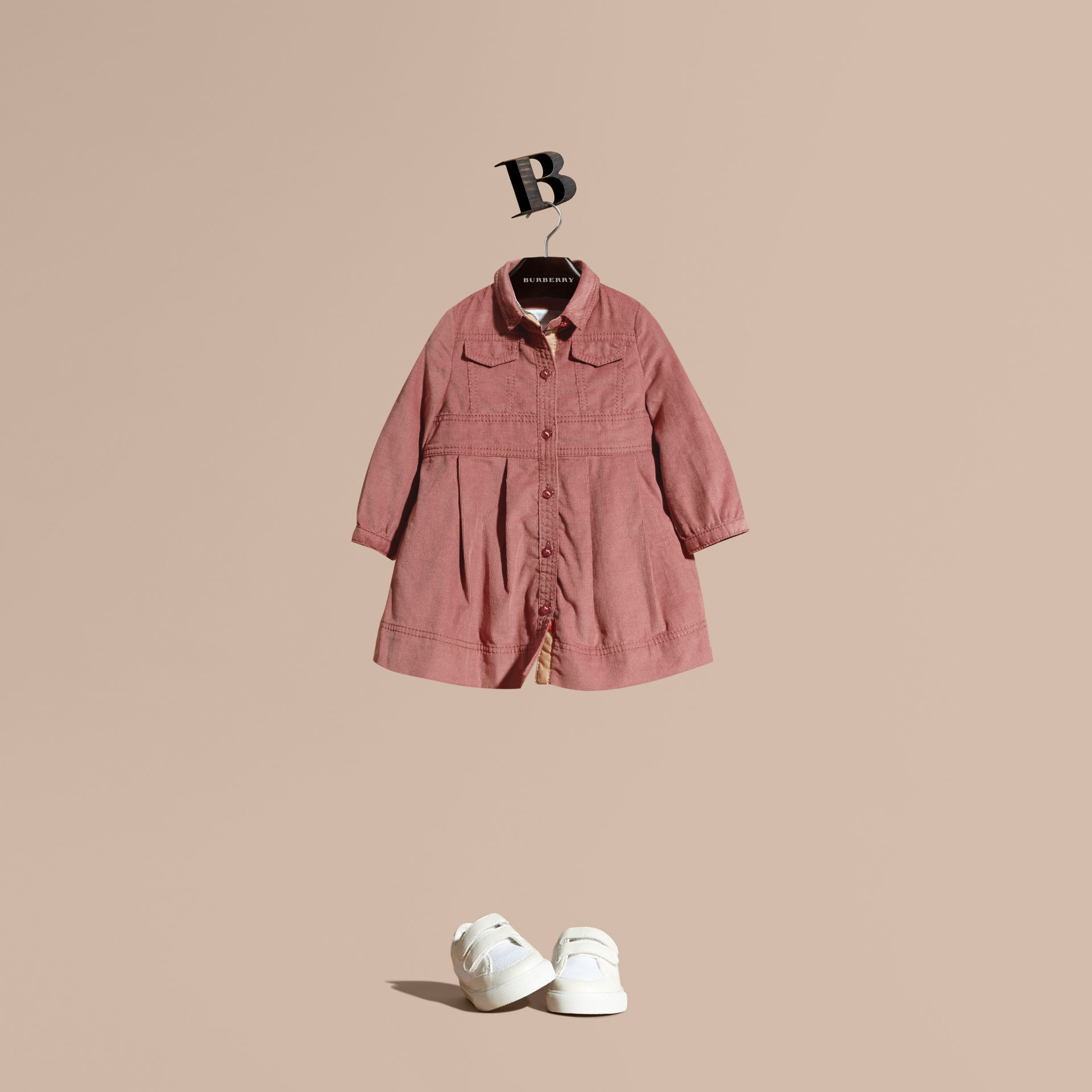 Pale ash rose Cotton Corduroy Shirt Dress Pale Ash Rose - gallery image 1