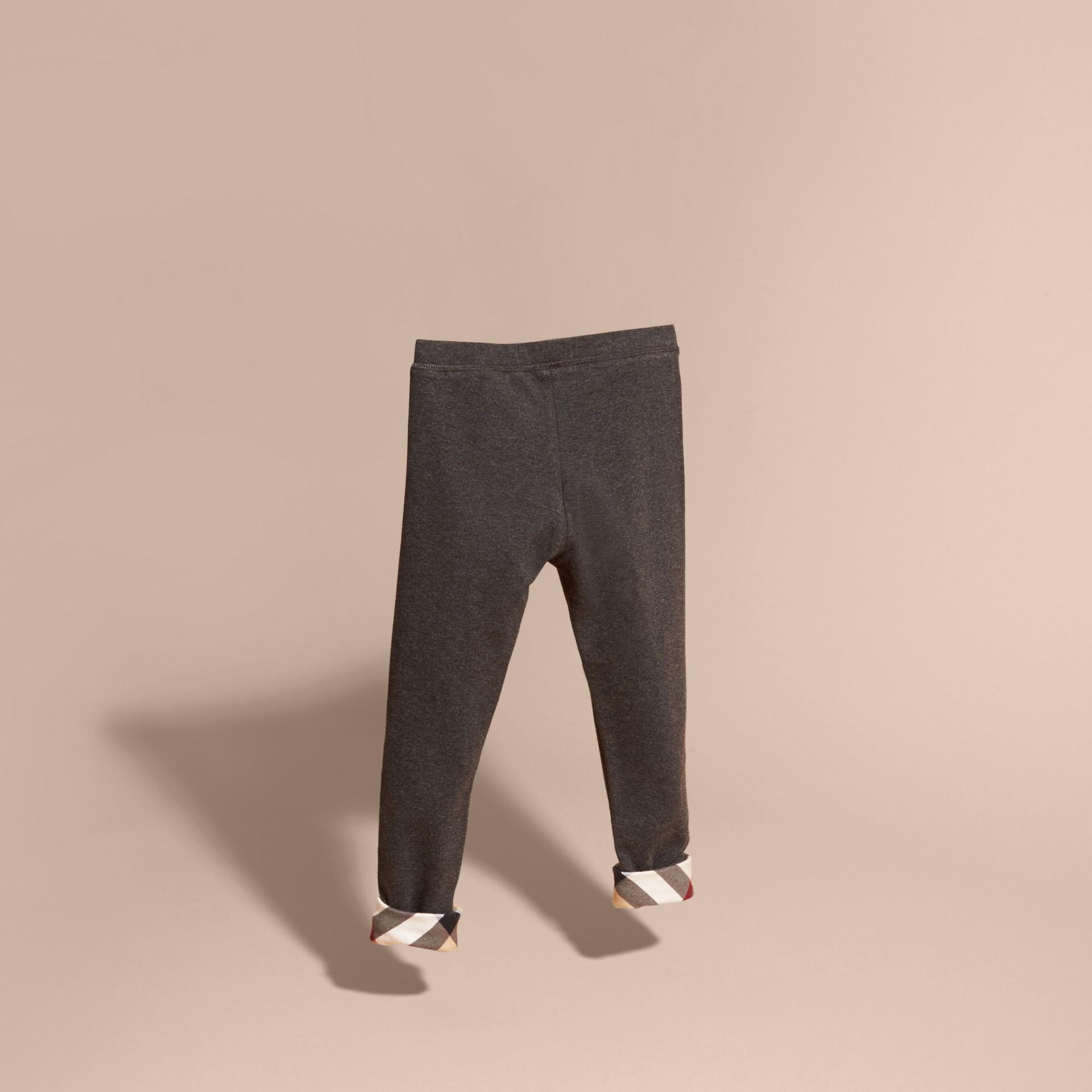 Mid grey melange Stretch Cotton Leggings Mid Grey Melange - gallery image 4