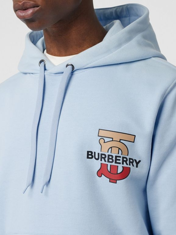 Monogram Motif Cotton Hoodie in Pale Blue - Men | Burberry Singapore - cell image 1