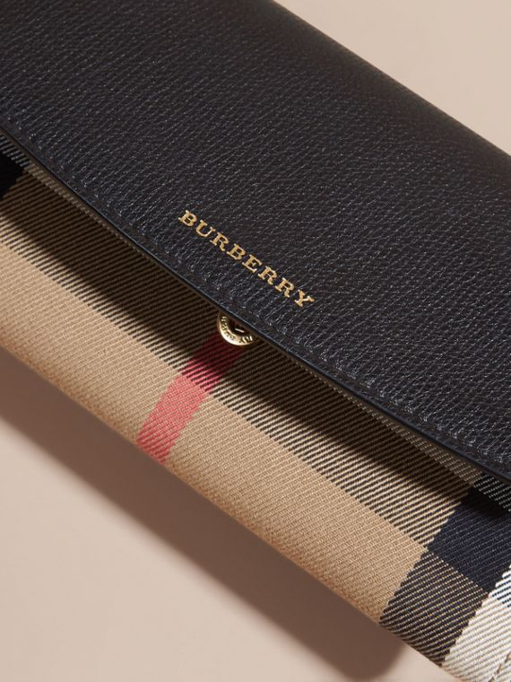 House Check And Leather Continental Wallet in Black - Women | Burberry - cell image 3