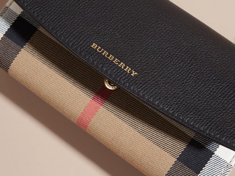 Portefeuille continental en coton House check et cuir