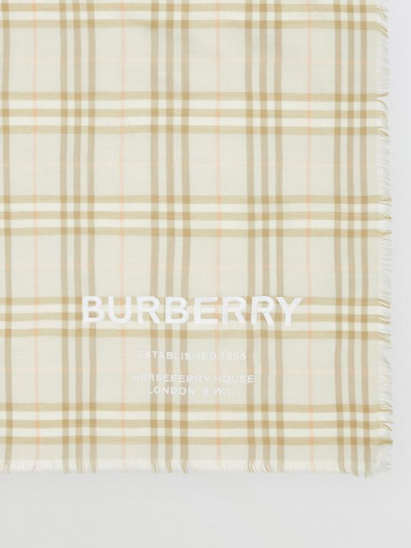 Шарф в клетку Vintage Check с вышивкой (Бледный Шалфей) | Burberry - cell image 1