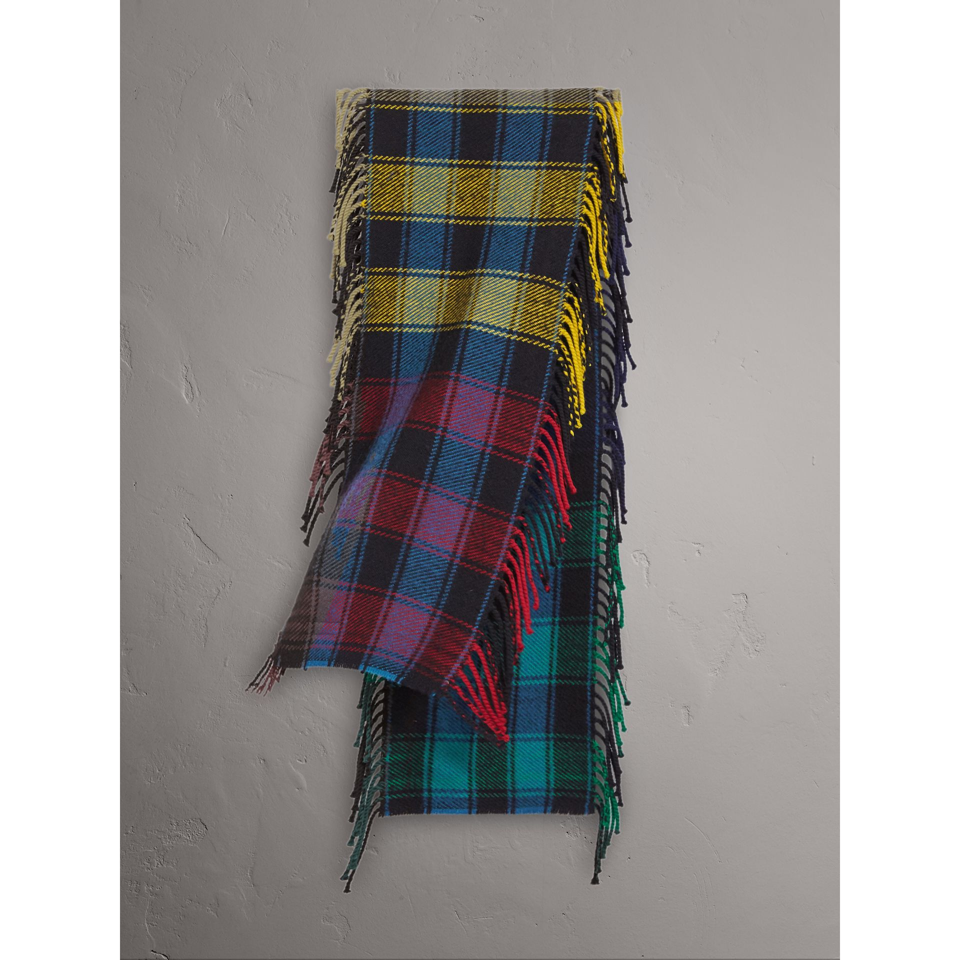 Colour-block Check Wool Scarf in Cobalt Blue | Burberry - gallery image 1