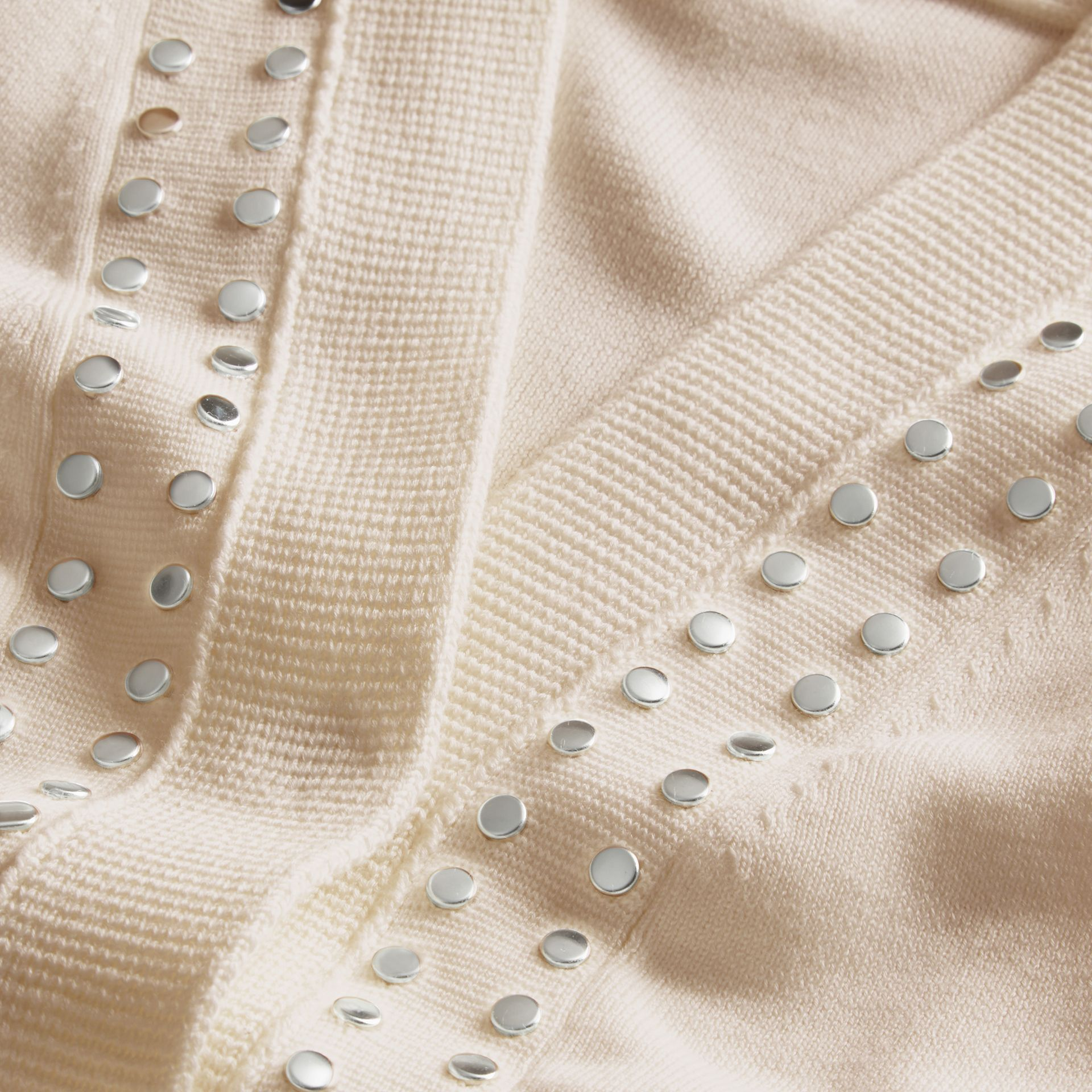 Natural white Cotton V-neck Cardigan with Studs - gallery image 2