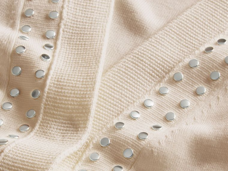 Natural white Cotton V-neck Cardigan with Studs - cell image 1