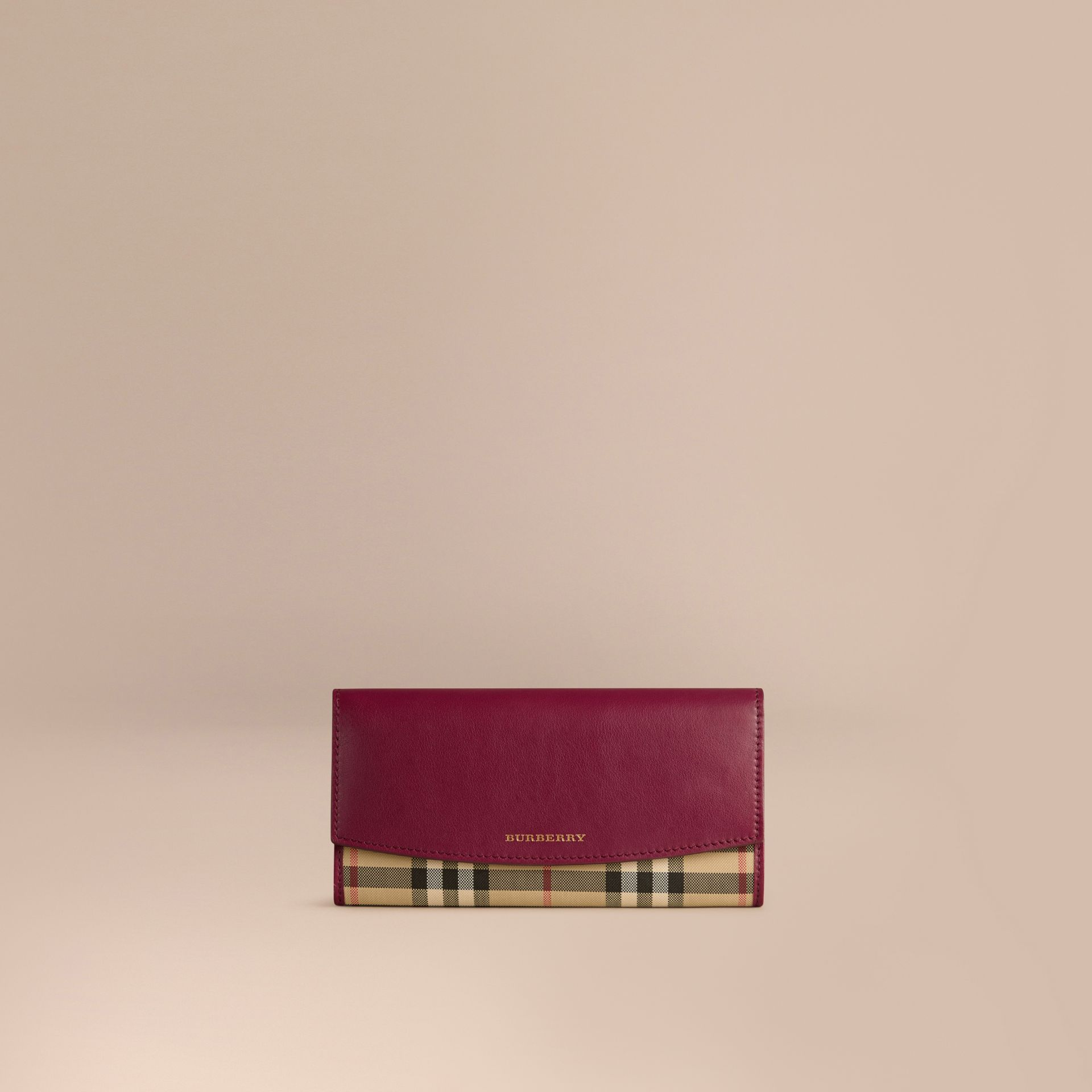 Dark plum Horseferry Check and Leather Continental Wallet Dark Plum - gallery image 1