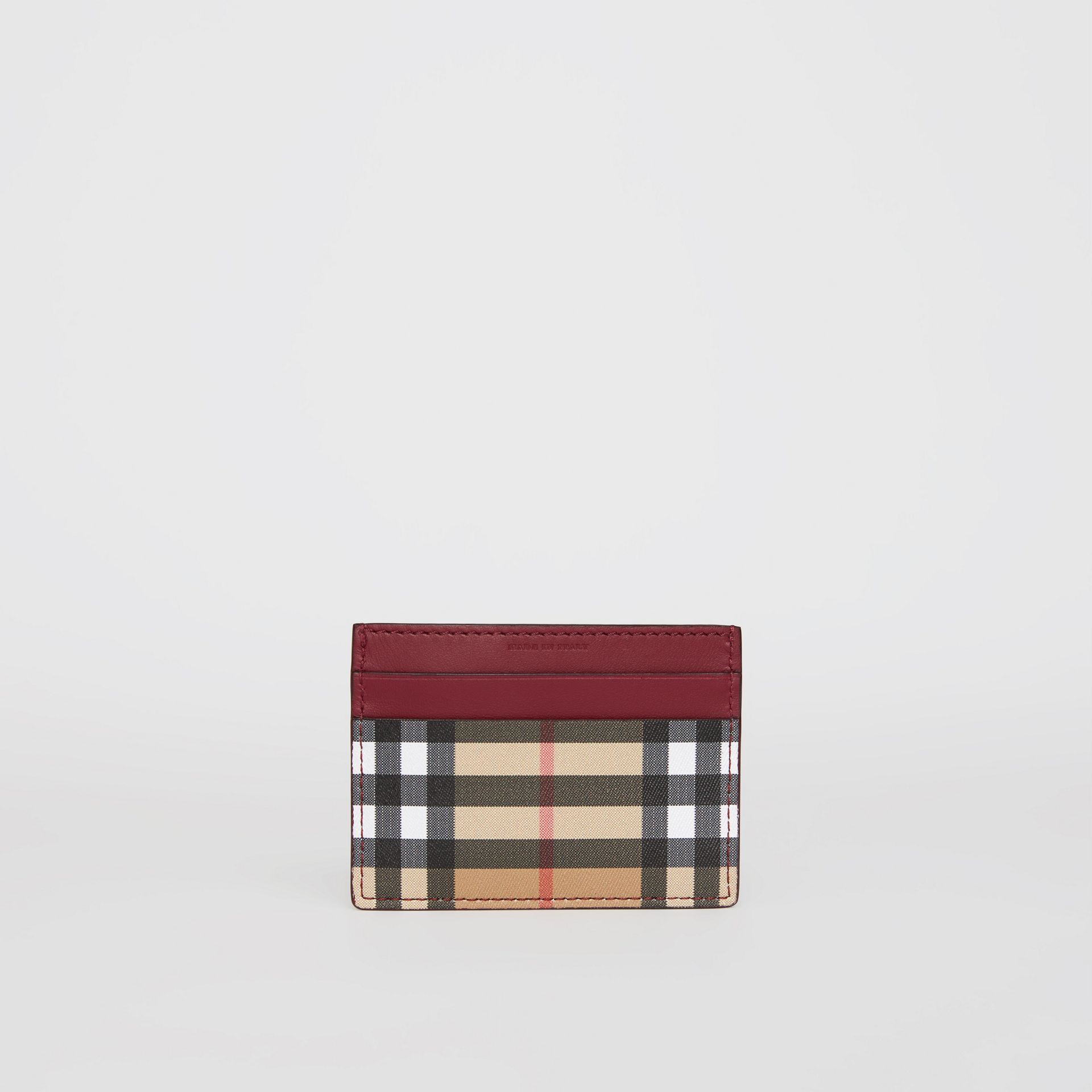 Vintage Check and Leather Card Case in Crimson - Women | Burberry Singapore - gallery image 4