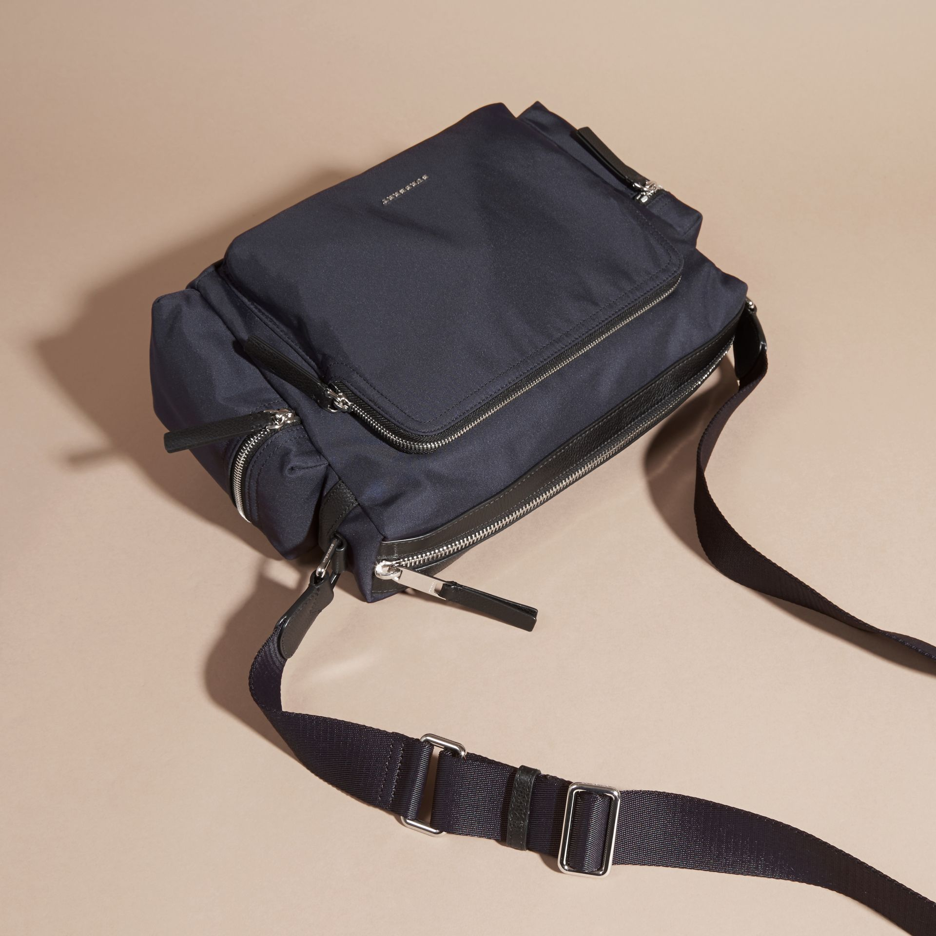 Dark navy Leather Trim Messenger Bag Dark Navy - gallery image 7