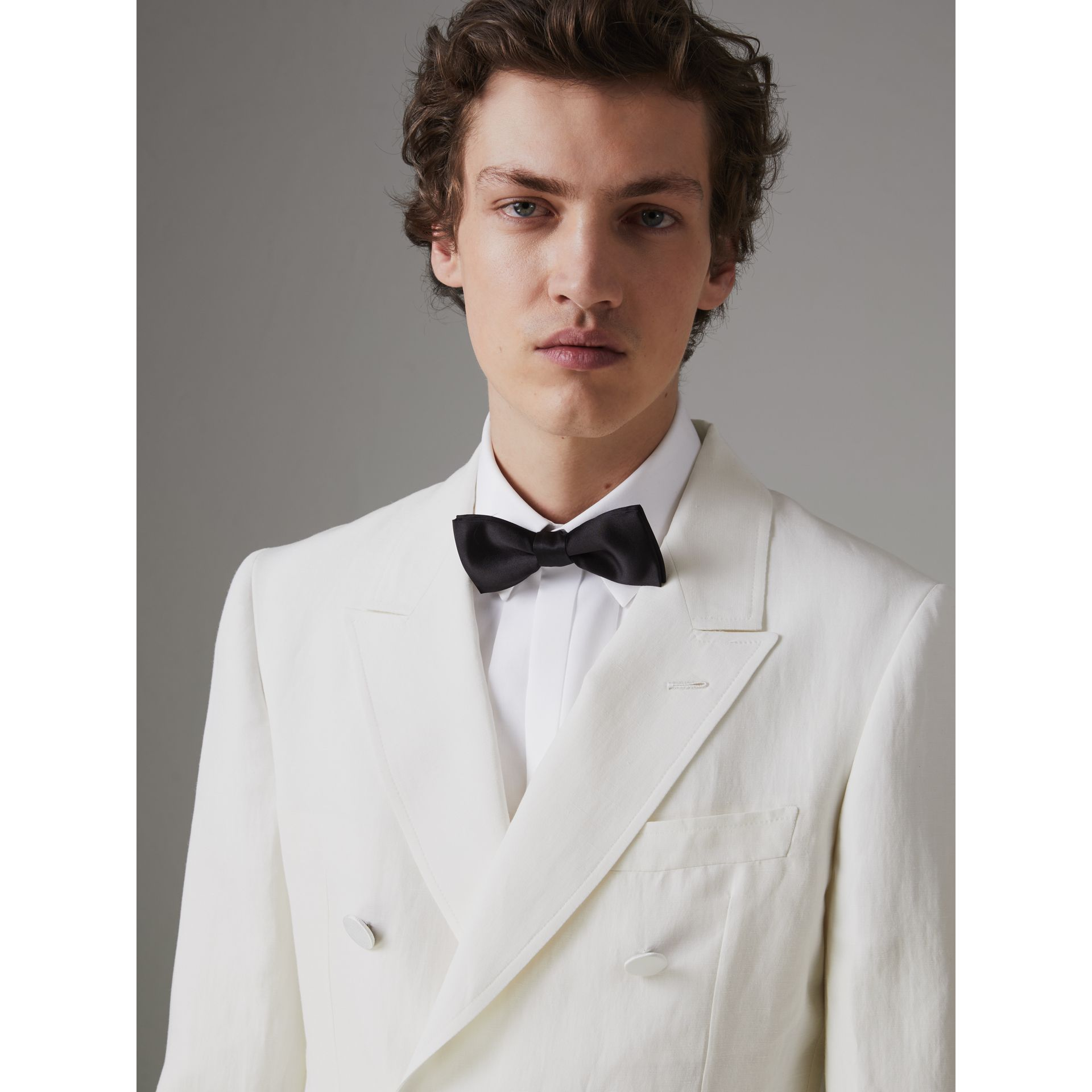 Linen Silk Double-breasted Tailored Jacket in Off White - Men | Burberry United Kingdom - gallery image 1