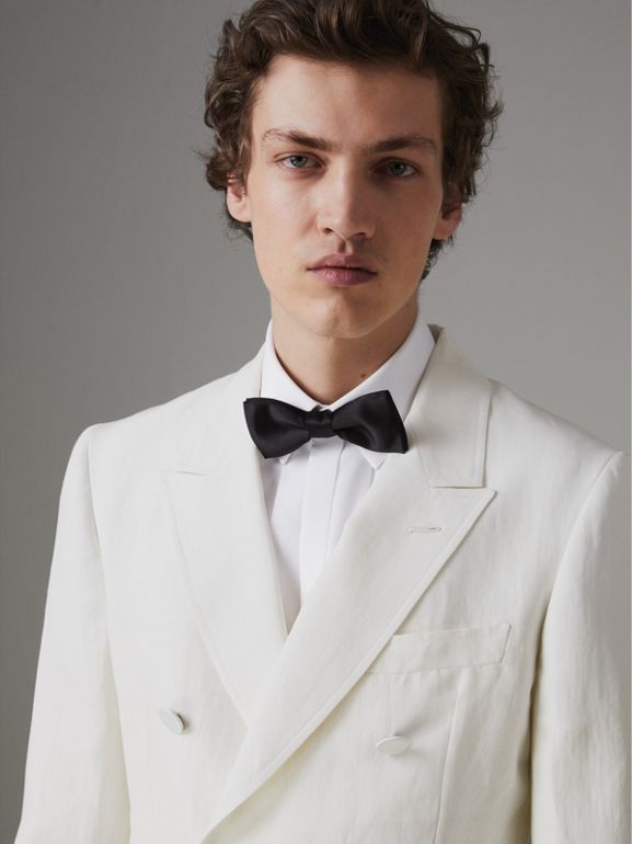 Linen Silk Double-breasted Tailored Jacket in Off White - Men | Burberry Singapore - cell image 1