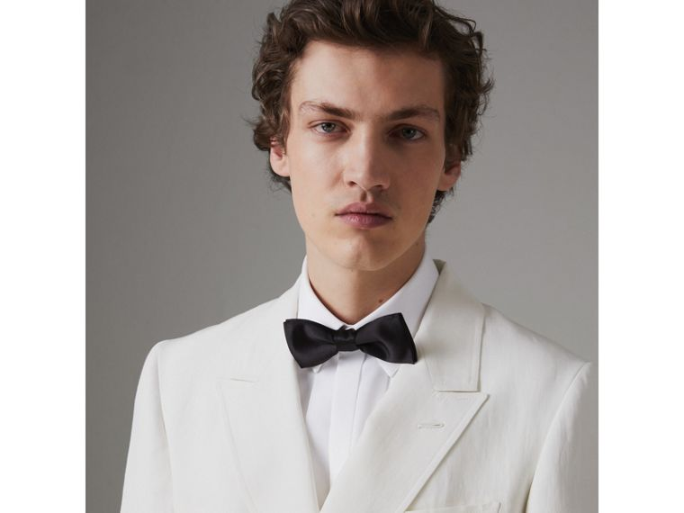 Linen Silk Double-breasted Tailored Jacket in Off White - Men | Burberry United Kingdom - cell image 1