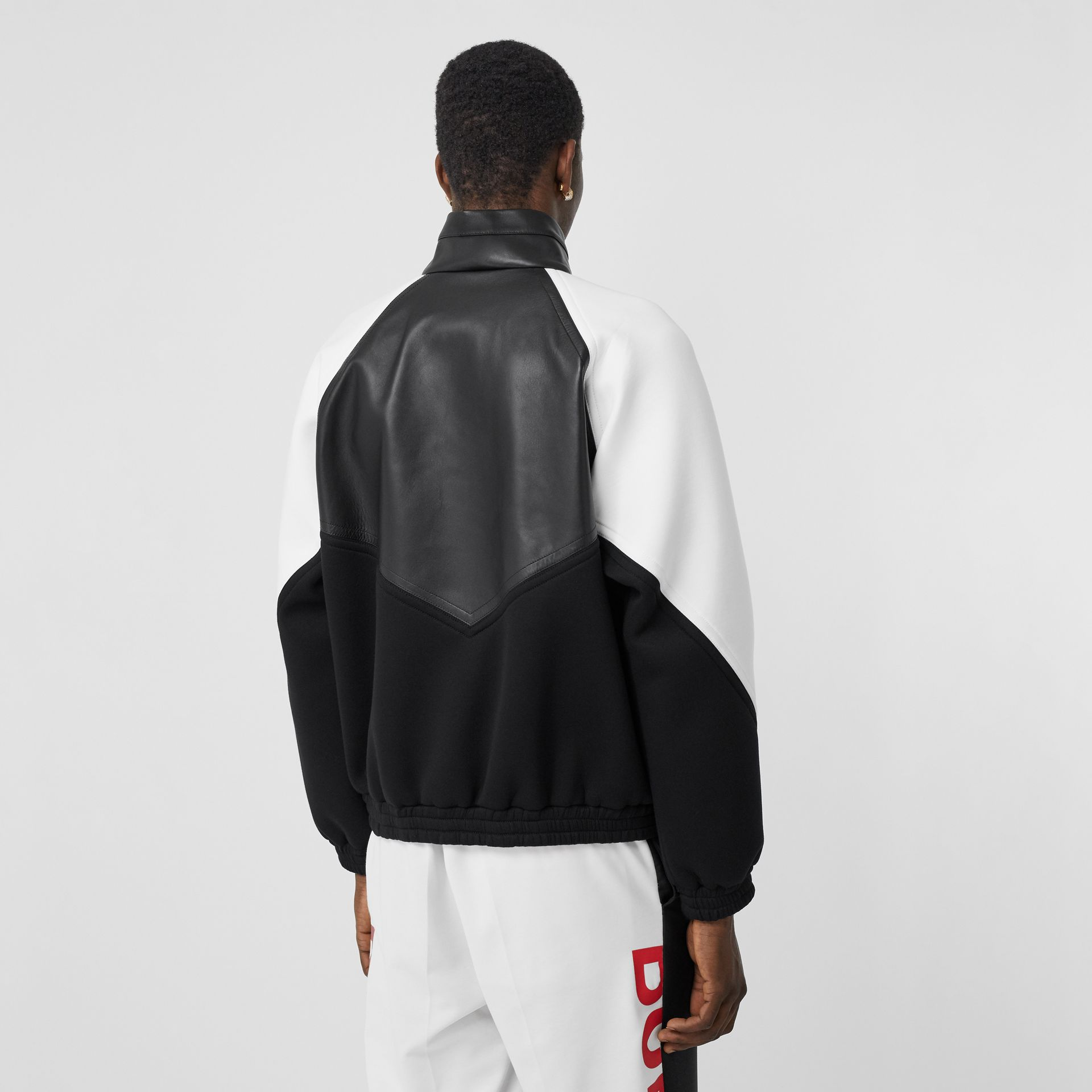 Logo Graphic Lambskin Funnel Neck Track Top in Black - Men | Burberry Hong Kong S.A.R - gallery image 2
