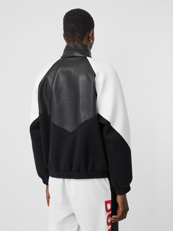 Logo Graphic Lambskin Funnel Neck Track Top in Black - Men | Burberry Hong Kong S.A.R - cell image 2