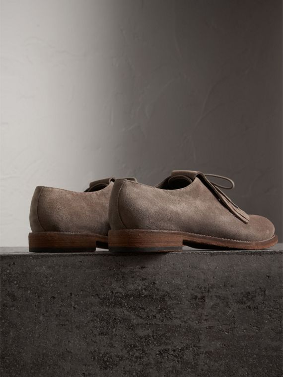 Lace-up Kiltie Fringe Suede Loafers in Steel Grey - Men | Burberry United Kingdom - cell image 3