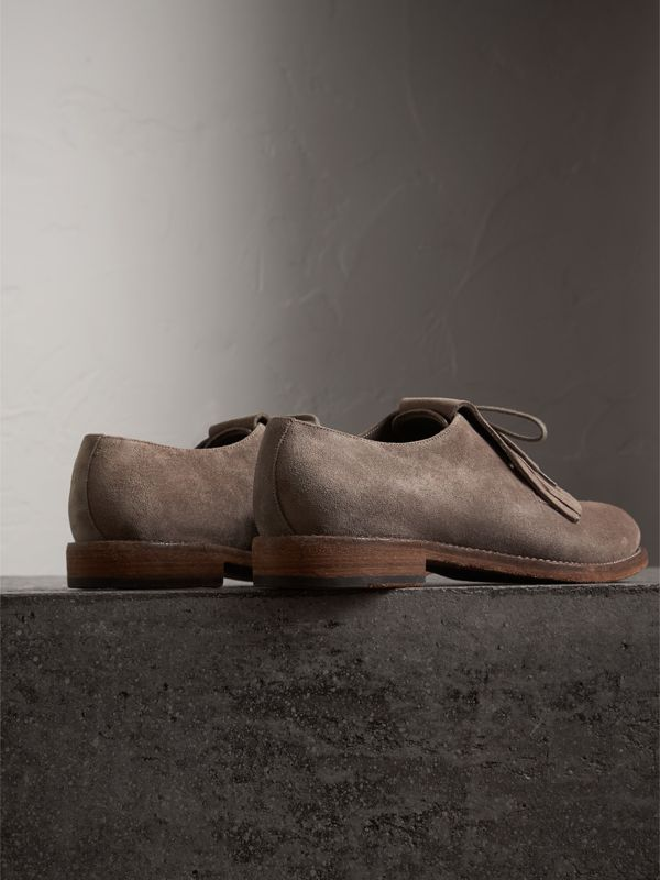 Lace-up Kiltie Fringe Suede Loafers in Steel Grey - Men | Burberry - cell image 3