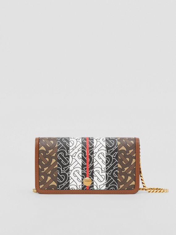 Monogram Stripe E-canvas Phone Wallet with Strap in Bridle Brown