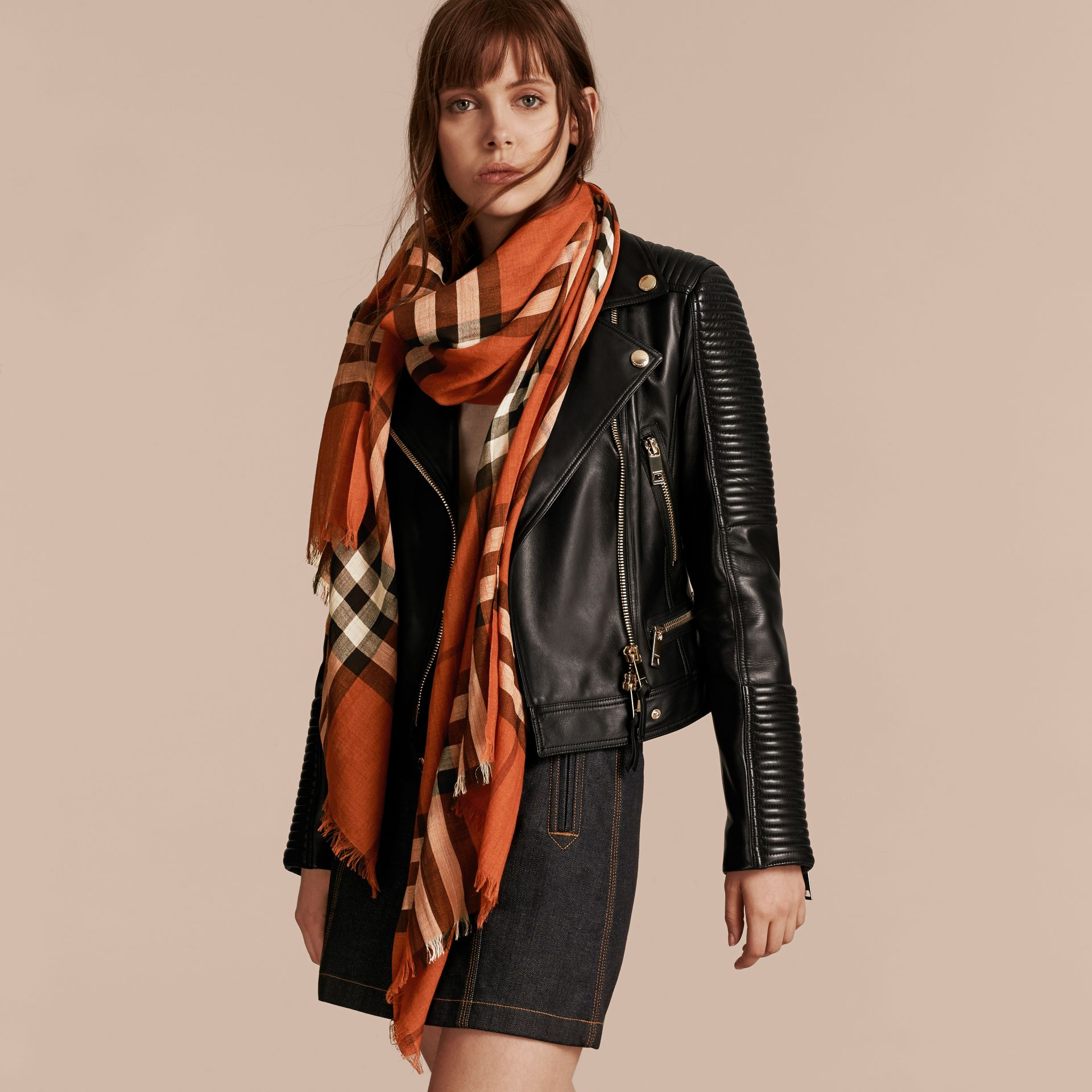 Burnt orange Lightweight Check Wool and Silk Scarf Burnt Orange - gallery image 3