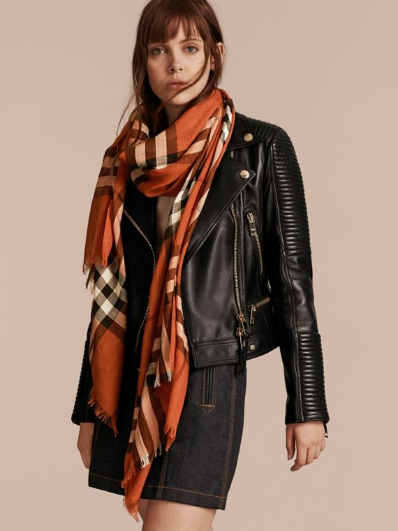 Burnt orange Lightweight Check Wool and Silk Scarf Burnt Orange - cell image 2