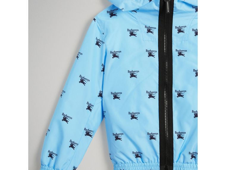 Archive Logo Print Lightweight Hooded Jacket in Sky Blue - Boy | Burberry - cell image 4