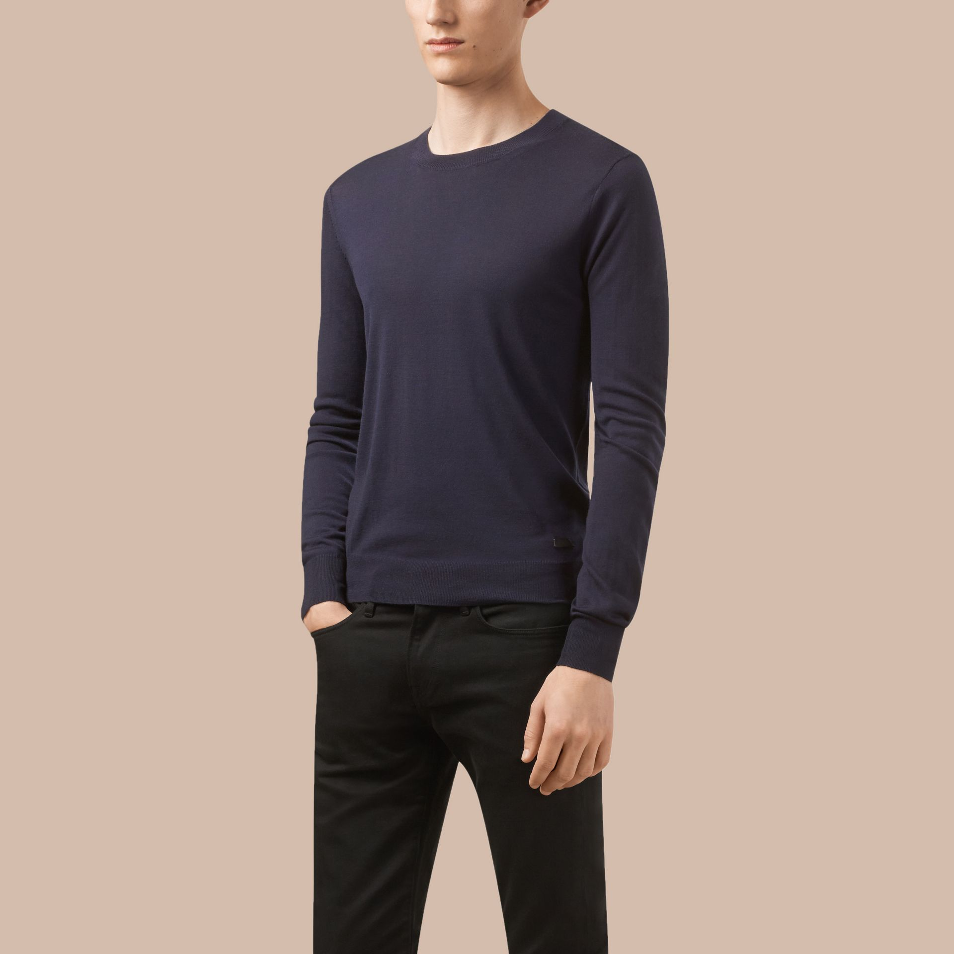 Navy Crew Neck Merino Wool Sweater - gallery image 4