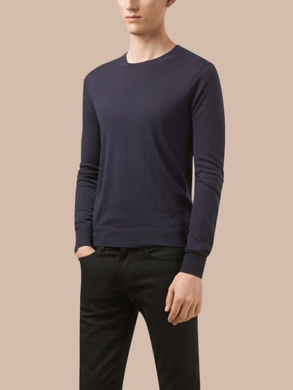 Navy Crew Neck Merino Wool Sweater - cell image 3