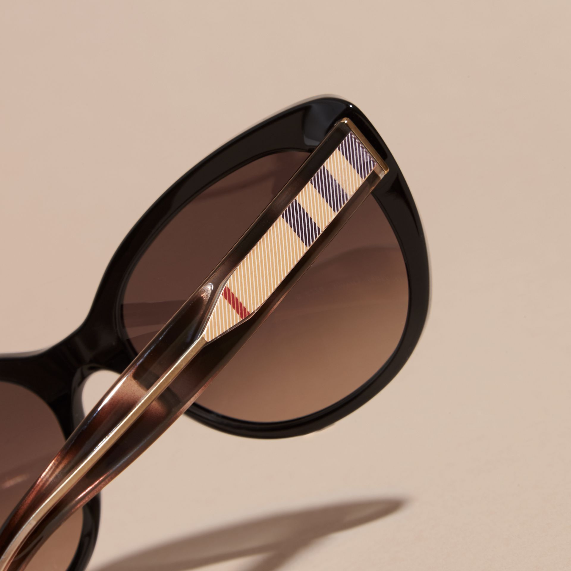 Check Detail Cat-eye Sunglasses in Black - Women | Burberry Australia - gallery image 5