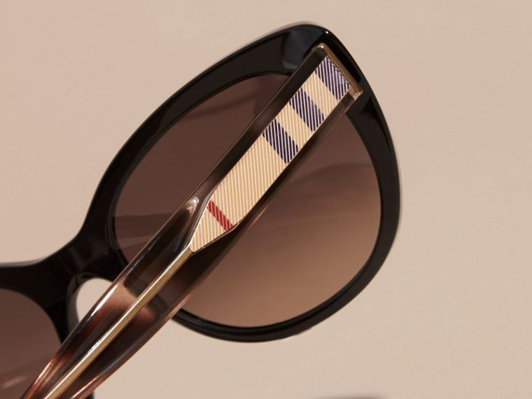 Check Detail Cat-eye Sunglasses in Black - Women | Burberry Australia - cell image 4