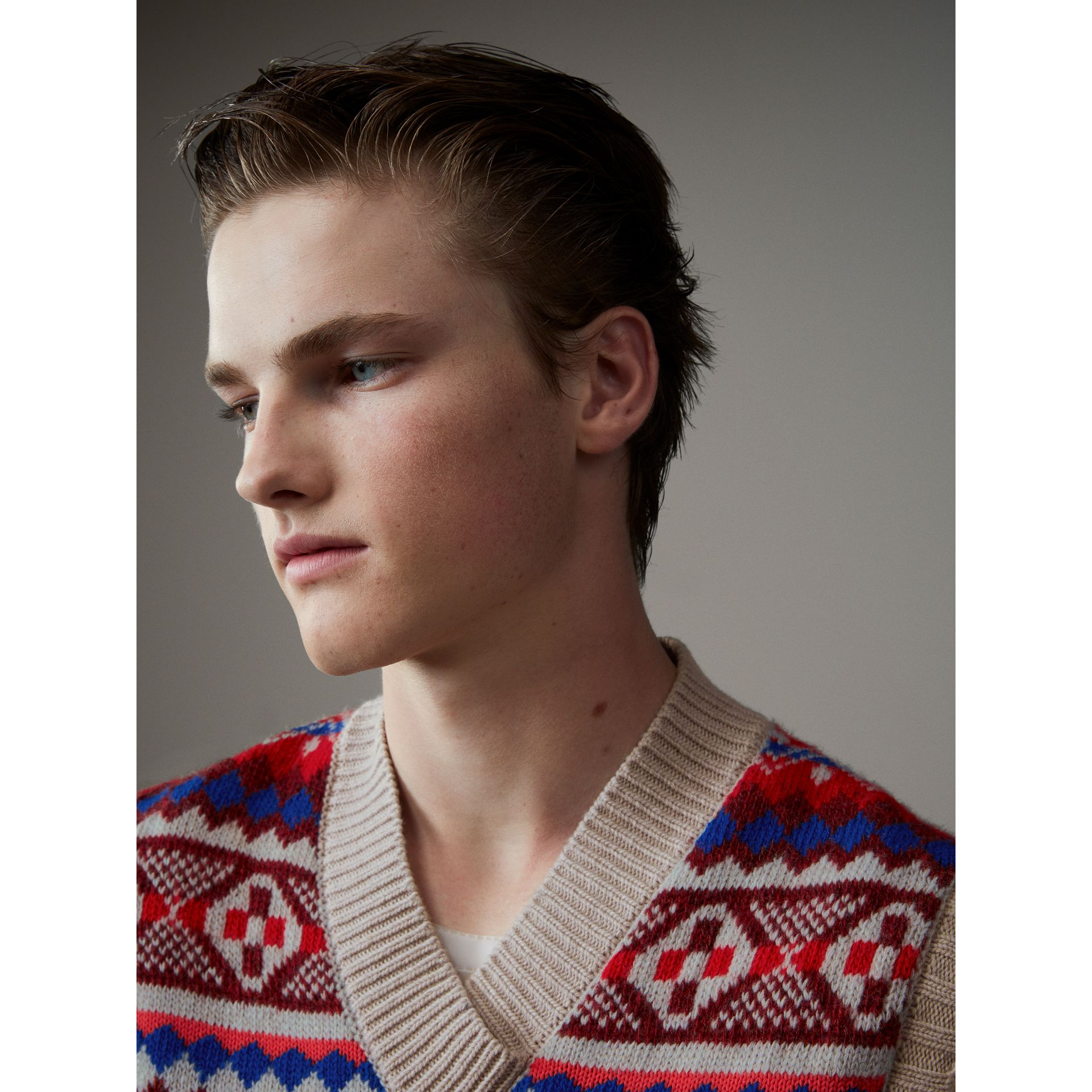 Fair Isle Wool Cropped Tank Top in Oatmeal - Men | Burberry Hong Kong - gallery image 1