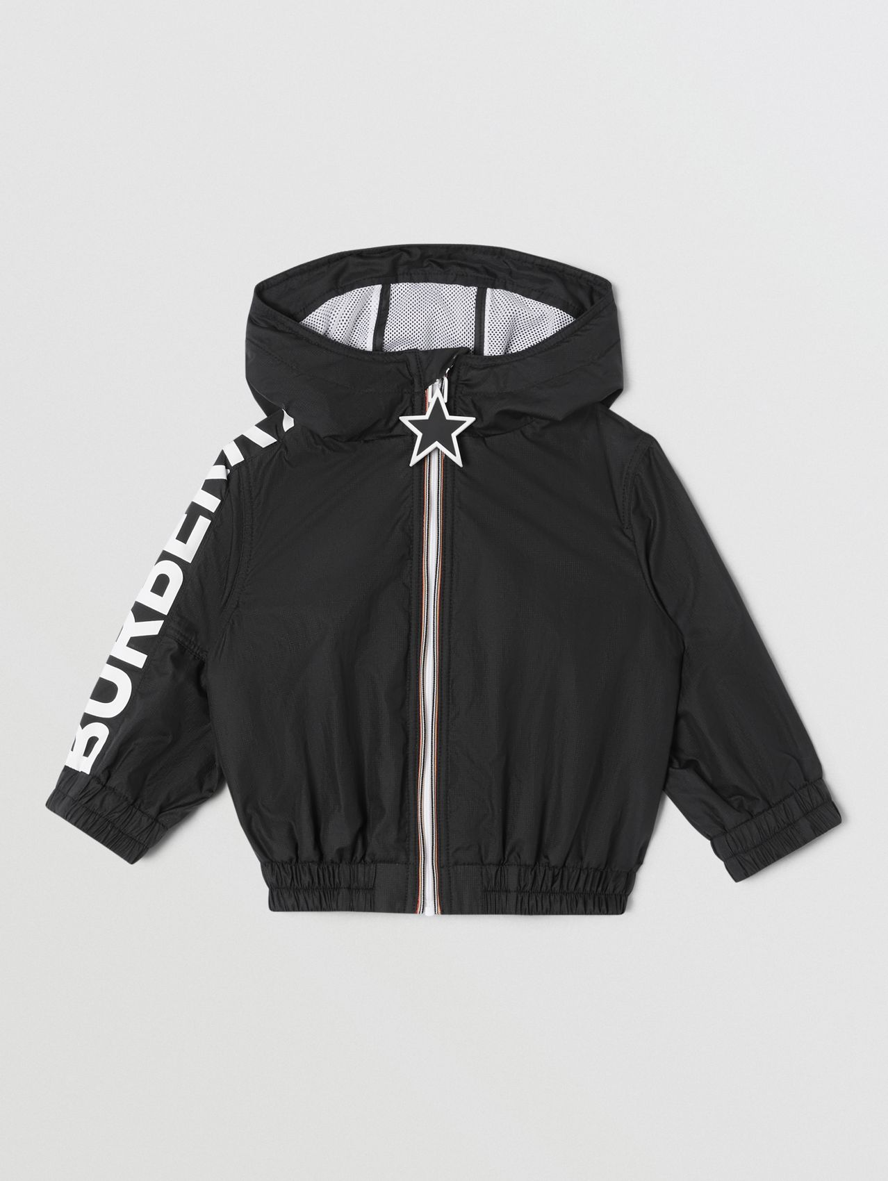 Star Detail Logo Print Lightweight Hooded Jacket (Black)