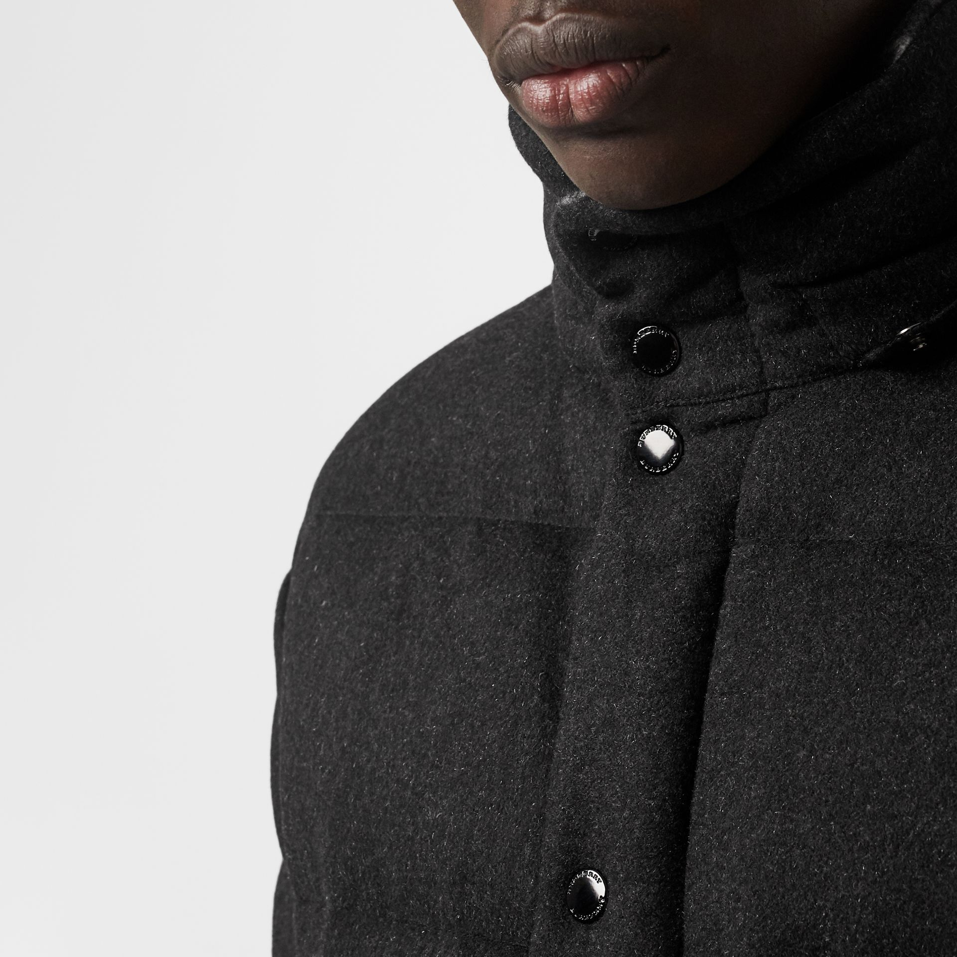 Detachable Hood Cashmere Down-filled Jacket in Dark Grey Melange - Men | Burberry Australia - gallery image 4