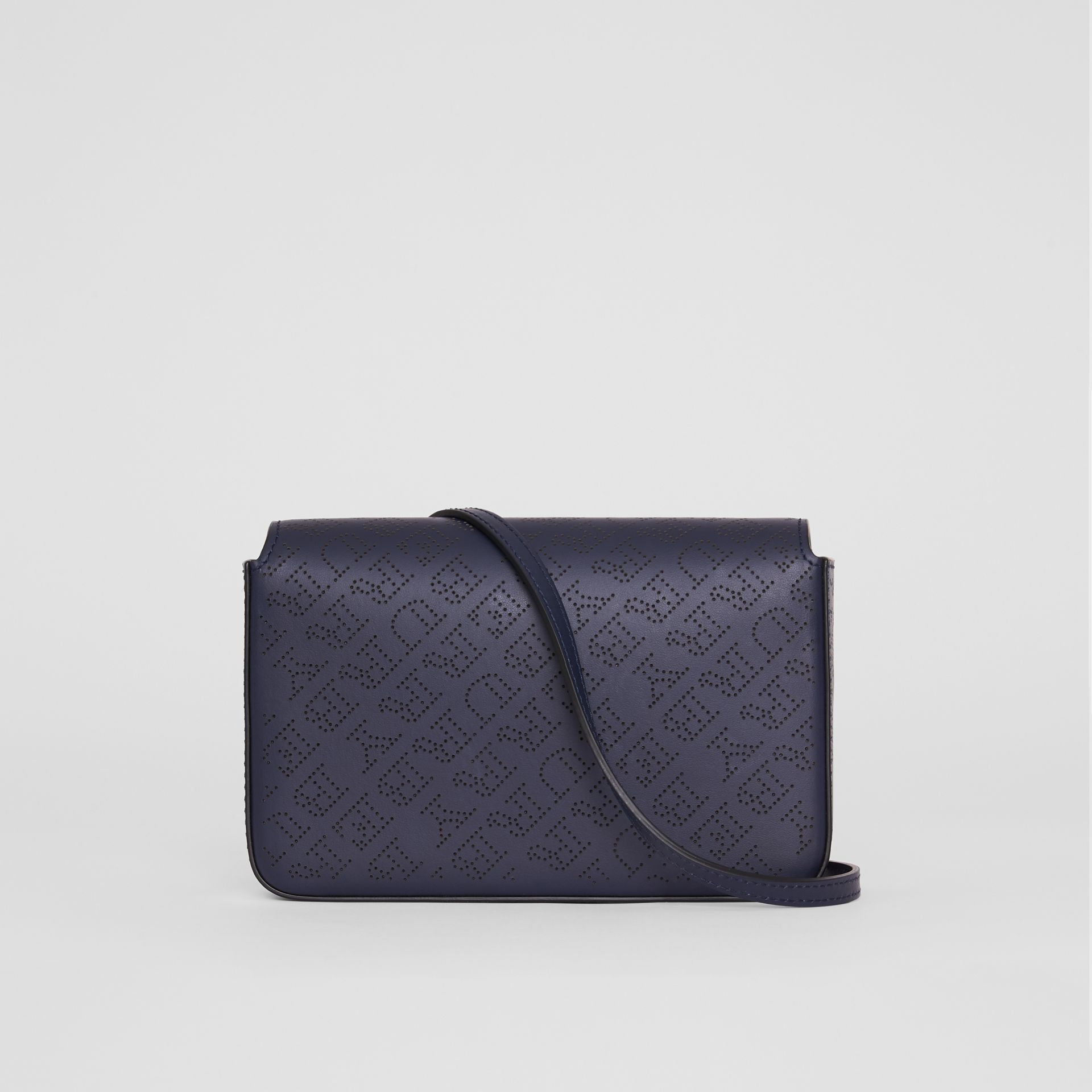 Perforated Logo Leather Wallet with Detachable Strap in Navy - Women | Burberry - gallery image 5