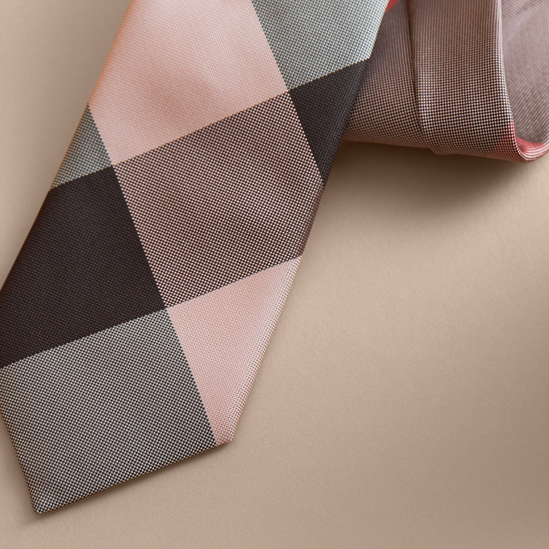 Modern Cut Check Silk Tie in Chalk Pink - gallery image 2