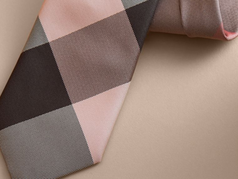 Modern Cut Check Silk Tie in Chalk Pink - cell image 1