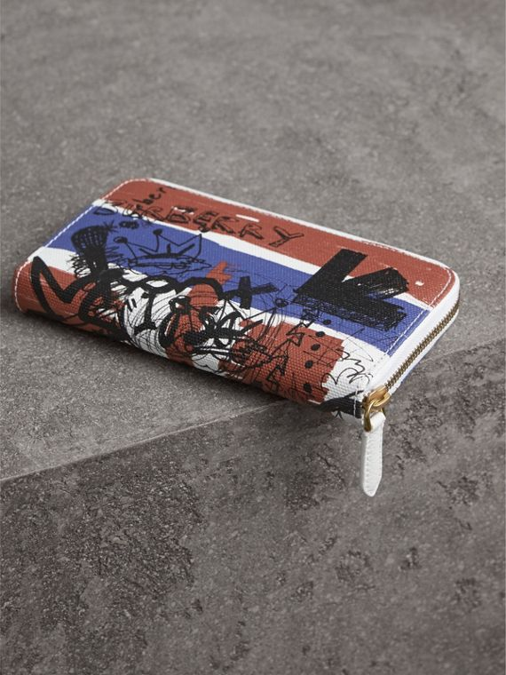 Doodle Print Coated Canvas Ziparound Wallet in Red/blue | Burberry - cell image 2