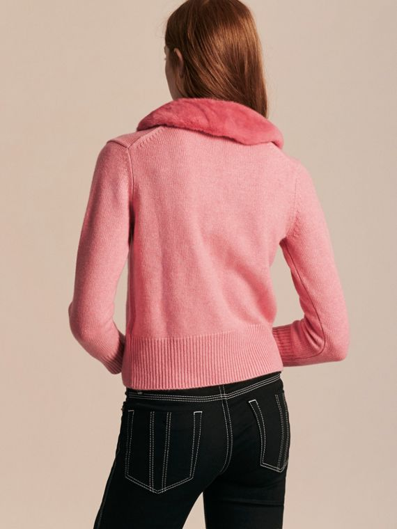 Hydrangea pink mel Mink Collar Cashmere Cardigan - cell image 2