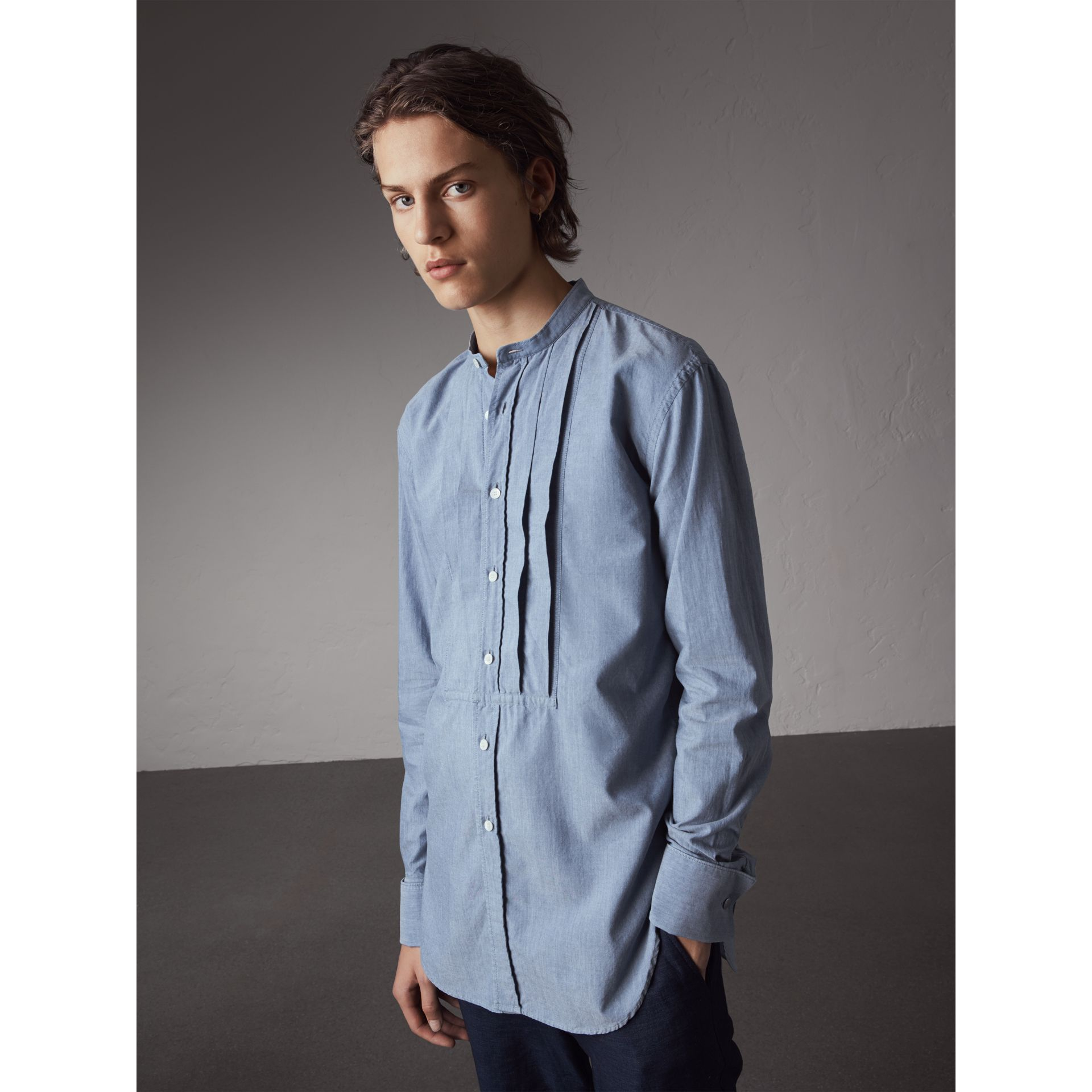Grandad Collar Pleated Bib Cotton Shirt in Denim Blue - Men | Burberry - gallery image 1