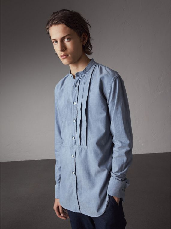 Grandad Collar Pleated Bib Cotton Shirt in Denim Blue