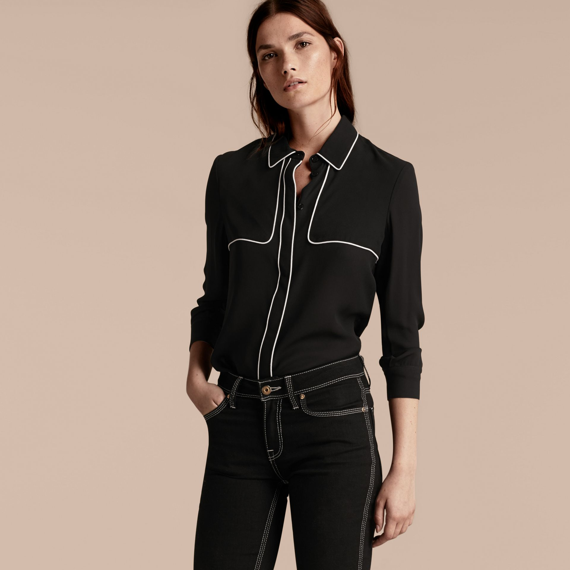Black Silk Shirt with Contrast Detail - gallery image 6